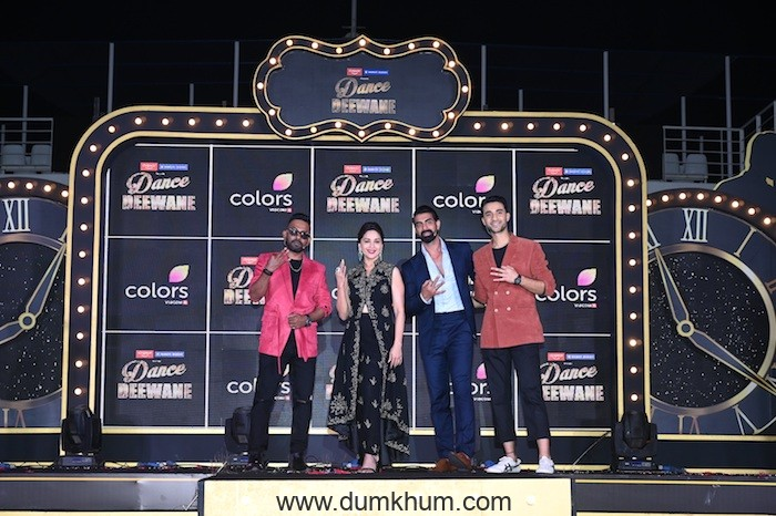 Madhuri Dixit vows to play cupid for Tushar Kalia, Dharmesh Yelande, and Raghav Juyal at the launch of COLORS' Dance Deewane!