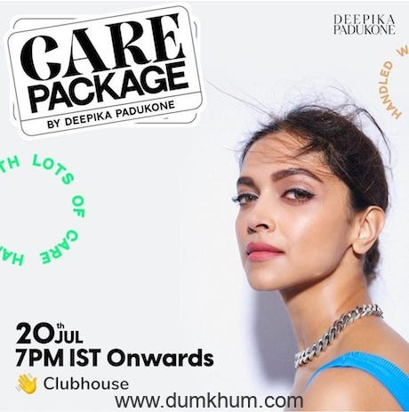 Deepika Padukone launches 'Care Package' on Clubhouse World's First Audio Festival That Cares