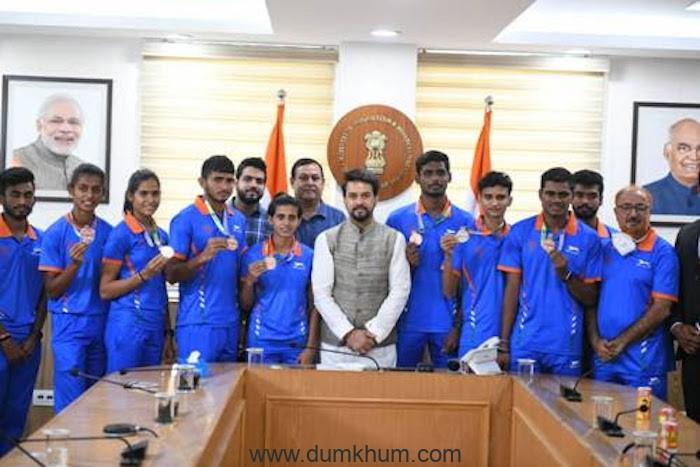 Sports Minister Shri Anurag Thakur interacts with India's 'World 2021 U20 Athletics Championship'Medalists